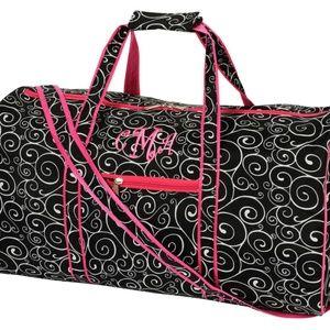 Women's Duffel Bag Pink Black Swirl 21x8x11 NWT